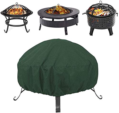 QYHH Round Fire Pit Cover, Outdoors Fire Pit Cover, Durable Fire Pit Waterproof Cover, Oxford Cloth PU Coating, Outdoor Garden Patio Heater Cover for Rain Frost Dirt Protection