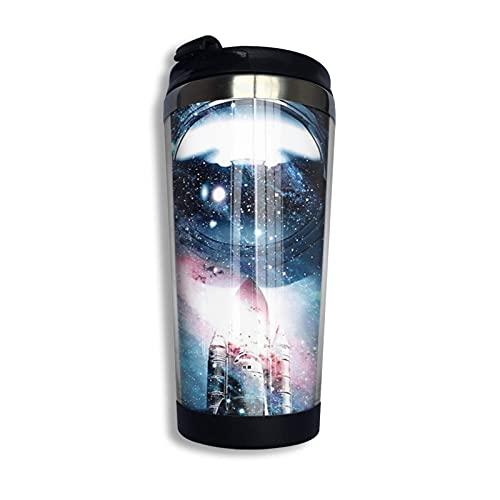 Taza de café de acero inoxidable con tapa Cosmos Time Rocket Astronaut Vaso de viaje portátil Taza de café aislada al vacío