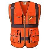 JKSafety 10 Pockets Class 2 High Visibility Zipper Front Safety Vest Orange with High Reflective Strips Meets ANSI/ISEA Standards (88-Orange, Medium)
