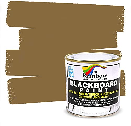 pro tapes chalk paints Chalkboard Blackboard Paint - Brown 8.5oz - Brush on Wood, Metal, Glass, Wall, Plaster Boards Sign, Frame or Any Surface. Use with Chalk Pen Wet Erase, Safe and Non-Toxic - Matte Finish