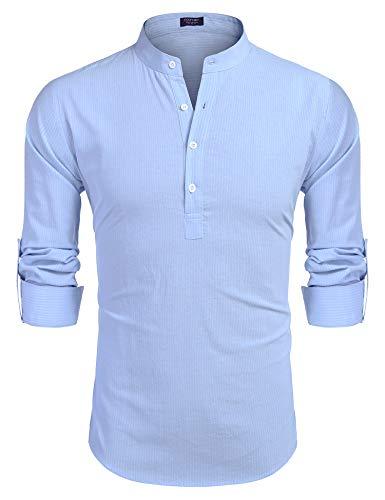 COOFANDY Herren Gestreiftes Hemd Freizeithemd mit Kurzen Knöpfen Langarm Bussiness Bügelfrei Modern für Männer Hell Blau Weiss S