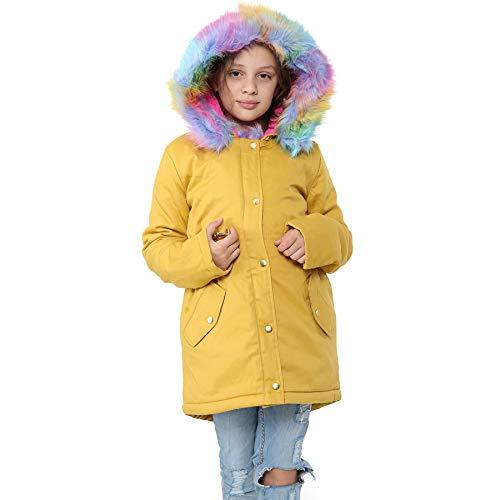 A2Z 4 Kids®, Kapuzenjacke für Kinder/Mädchen, Regenbogen-Kunstfell-Parka-Design, Schuljacken, Mantel, Outdoor-Kleidung, Alter 2, 3, 4, 5, 6, 7, 8, 9, 10, 11, 12, 13 Jahre Gr. 116, senffarben