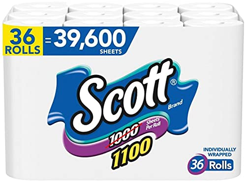 2 Packs of 1100 Unscented Bath Tissue, 1-ply (36 Rolls = 1100 Sheets Per Roll) - Individually Wrapped Toilet Paper (2- Pack) New Deal !!