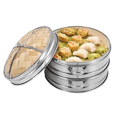 Bambus-Dampfgarer mit Deckel, 2 Etagen, Küchengeschirr für Teigtaschen, Fisch, Reis, Gemüse, Nudeln, chinesisches Heizen, Dämpfkorb