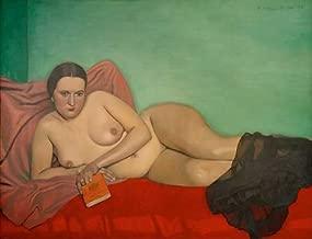 kunst für alle Art Print/Poster: Felix Edouard Vallotton Femme nue Tenant un Livre Picture, Fine Art Poster, 35.4x27.6 inch / 90x70 cm