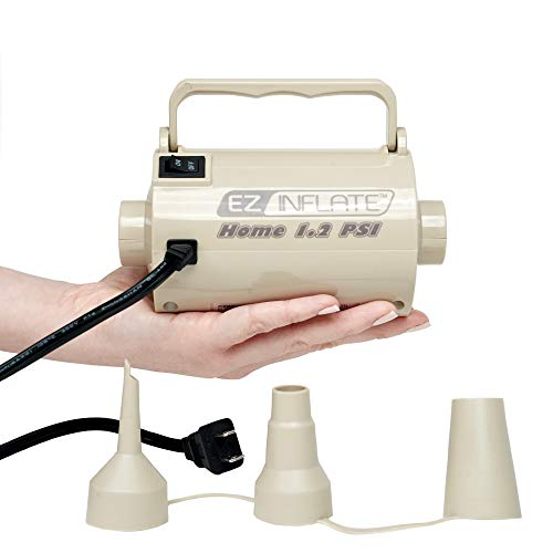 EZ Inflate HIGH VOLUME SUPREME AC Air Pump, Inflator Deflator Air Pump With 3 Universal Nozzles - Electric Air Pump For Inflatables, Airbeds, Inflatable Pool (Extreme 2.0 PSI) 1 Year WARRANTY