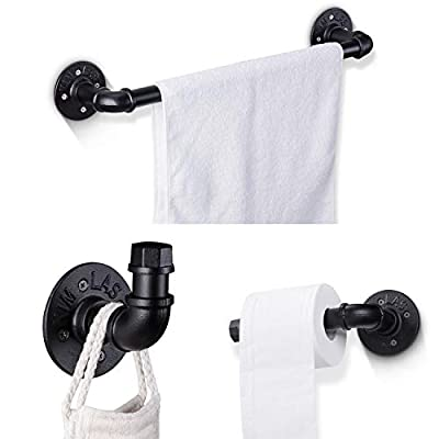 Elibbren Industrial Pipe Bathroom Hardware Fixture Set Heavy Duty DIY Wall Mount Accessories Kit Includes Robe Hook, 18 Inch Towel Bar and Toilet Paper Holder