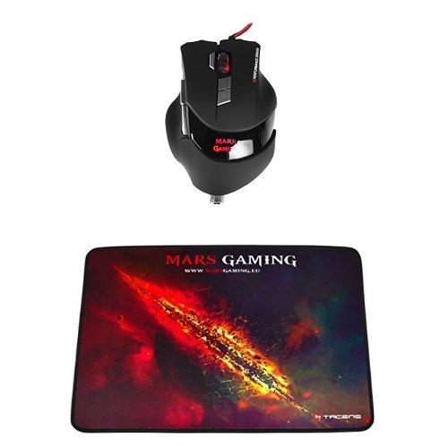 Mars Gaming MM3 - Ratón láser gaming + MMP1 - Alfombrilla de ratón