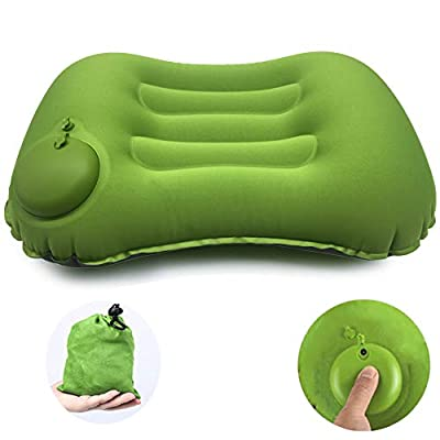 Inflatable Camping Pillow, Hand Press Travel Air Pillows, Compressible, Lightweight, Ergonomic Pillow for Neck & Lumbar Support While Camping, Backpacking, Hiking(Green)