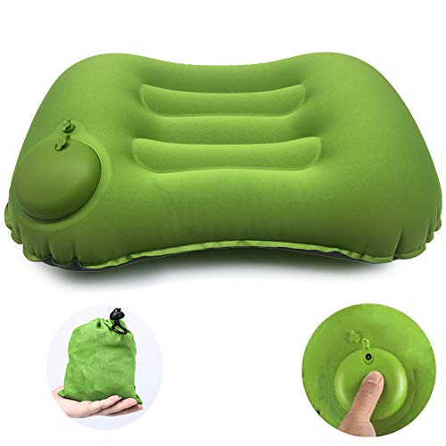 Inflatable Travel Pillow Protable Hand Press TPU Inflatable Pillow for Camping, Compressible Ergonomic Neck & Lumbar Support Perfect for Beach, Backpacking, Road Trips and Airplanes (Green)