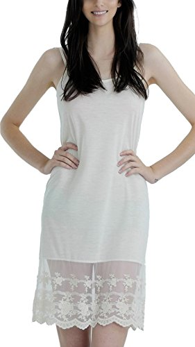 Women's Adjustable Knit Layering Full Slip with Lace Extender