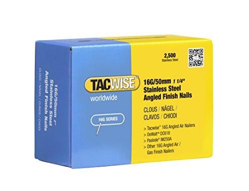 TACWISE 1225 Clavos inclinados de acero inoxidable 16 g/50 mm