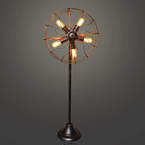 DXXWANG Floor Lamp Reading Decorative Lights,5 Light American for Living Room Industrial Retro Fan Wire Metal Cage E27 /E26 Wrought Iron Water Pipe Standing Lamp