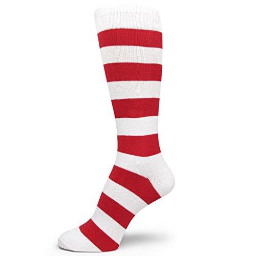 Spotlight Hosiery Men's Ronald McDonald and Waldo Costume Dress Striped Socks White/Red