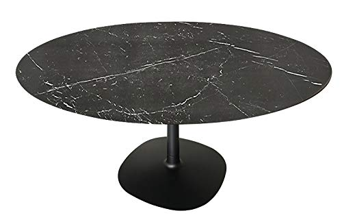 Kartell Multiplo Tavolo da Pranzo Rotondo, Gres Nero Finitura Marmo