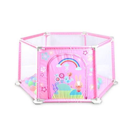 MKJYDM Cerca del bebé Juego de niños Cerca de la Alfombra de Seguridad for niños pequeños Interiores de Seguridad for niños pequeños Valla de Juegos para niños (Color : Pink)