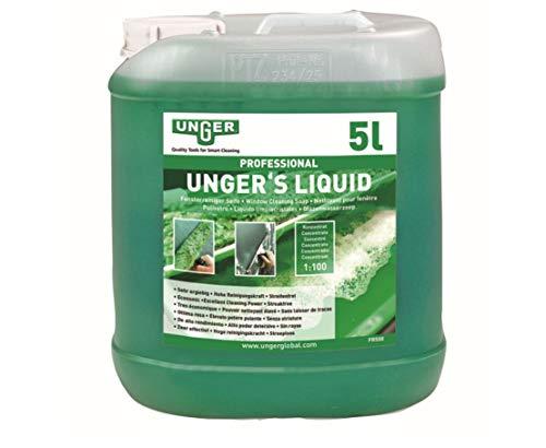 Unger Glasreiniger Unger's Liquid (5 Liter, Konzentrat, Mischverhältnis 1:100, pH-neutral, streifenfreie Fenster, Sicherheitsverschluss, Dosierungs-Skala) FR500