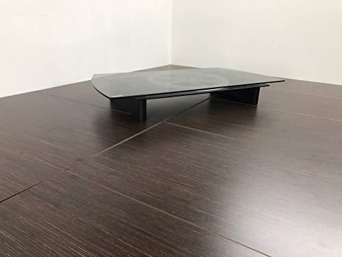 Tecnidea Soporte de TV giratorio con compartimiento decodificador VTG70N, superficie de cristal templado color ahumado, disco rotativo negro, dimensiones del lado frontal 70 x 36 cm