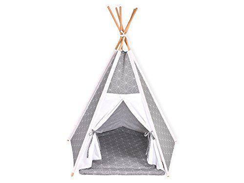 KraftKids Spielzelt-Tipi weiße dünne Diamante auf Grau, Indianer-Zelt zum Spielen für Kinder, Kleinkinder und Babys, inkl. Spielmatte