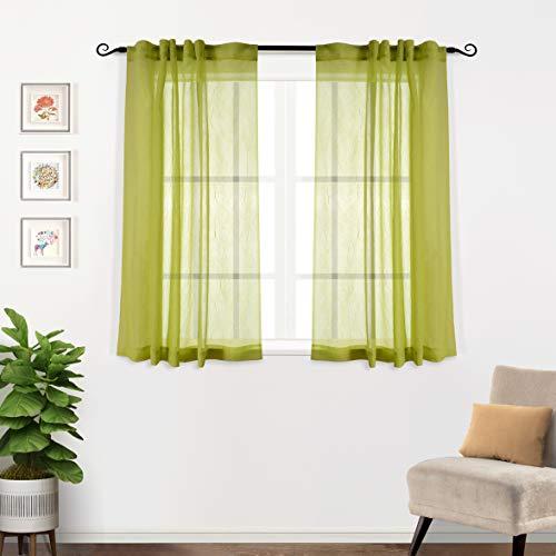 MYSKY HOME Krossad voile genomskinliga gardiner för vardagsrum bakflik och stångficka fönsterbehandling skrynklor genomskinliga gardiner (2 paneler, 130 cm x 160 cm, ljusgrön)