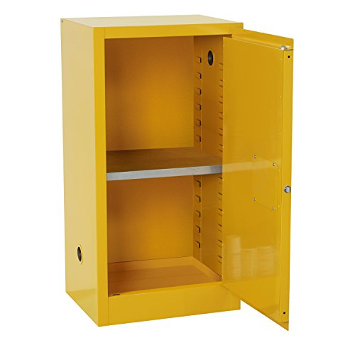 "Sandusky Lee SC12F Safety Cabinet for Flammable Liquids, Single Door and Manual Close, 12 gallon, 35""Height, 23""Width, 18""Depth, Steel, Yellow"