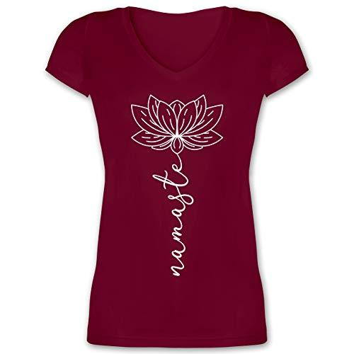 Wellness, Yoga & Co. - Namaste Lotusblüte weiß - XS - Bordeauxrot - Yoga Tshirt Damen - XO1525 - Damen T-Shirt mit V-Ausschnitt