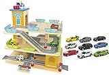 Leomark Le Grand Garage avec Accessoires - 9 Voitures en métal - en Bois Parking À Voitures avec Étage et Ascenseur, Multicolore, Trois étages Jouet pour Enfants, Hauteur: 40 cm + Bracelet LED