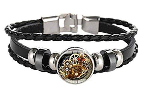 メンズレザーブレスレット 時計の歯車のブレスレット の人の革の宝石