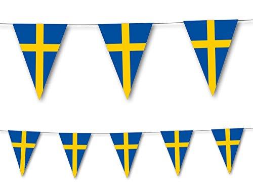 3,5m Wimpelkette * SCHWEDEN * als Deko für Länderparty von DH-Konzept // Mottoparty Banner Girlande Partykette