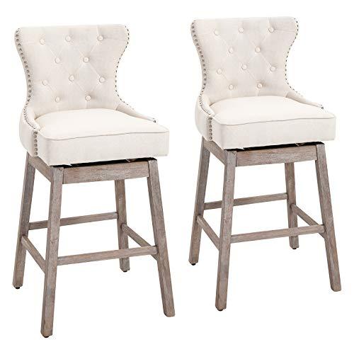 HOMCOM Upholstered Linen Bar Stools 180° Swivel Nailhead-Trim Pub Chairs with Rubber Wood Legs Set of 2, Cream White