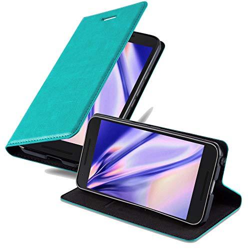 Cadorabo Hülle für LG Nexus 5X - Hülle in Petrol TÜRKIS – Handyhülle mit Magnetverschluss, Standfunktion & Kartenfach - Case Cover Schutzhülle Etui Tasche Book Klapp Style