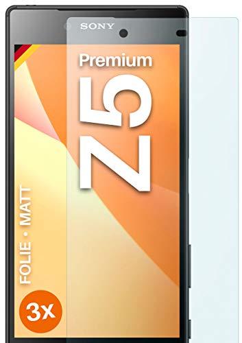 moex Schutzfolie matt kompatibel mit Sony Xperia Z5 Premium - Folie gegen Reflexionen, Anti Reflex Displayschutz, Matte Displayfolie - 3X Stück