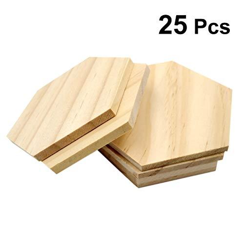 Healifty 25 Stück unbehandelte Holz-Ausschnitt-Formen, Hexagon-Form, Holzscheiben, blanko, Namensschilder mit Loch Geschenkanhänger für Partys, Hochzeiten, Heimdekoration (9 cm)
