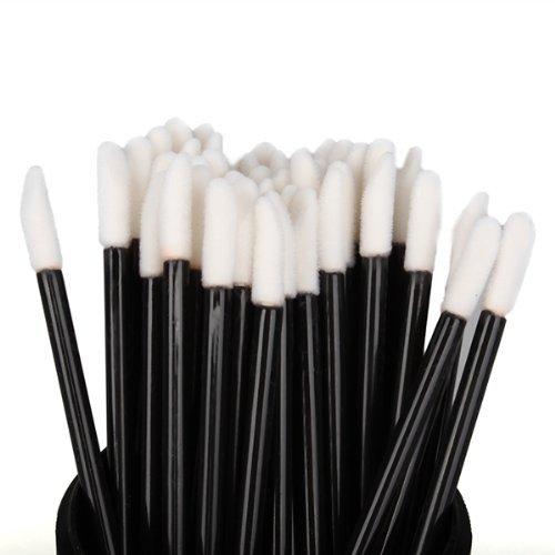 Alohha Lot de 100 tampons à lèvres jetables Applicateur de maquillage pour lèvres Noir