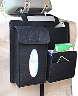 Monbedos Aufbewahrungstasche zum Aufhängen im Auto, mit Schnalle, für Schlafzimmer, Wohnheim, Autositz, Organizer, Tasche, Taschentuchbox, Aufbewahrungstasche, schwarz