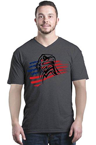 Shop4Ever American Bald Eagle USA Flag Men's V-Neck T-Shirt 4th of July Shirts Medium Charcoal 0