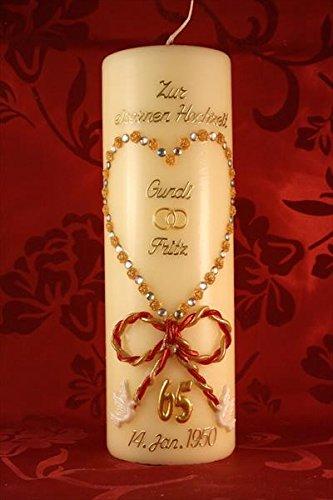 Kerze eiserne Hochzeit mit Namen & Datum EH-02g