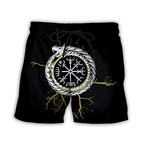 Shorts De Bain Shorts De Surf Hommes Femmes Imprimé 3D Vikings Summer Beach Shorts Pantalon De Plage À Séchage Rapide Outdoor Leisure Swim Trunks Pocket Elasticated Waist Board Surfing Pants Xl