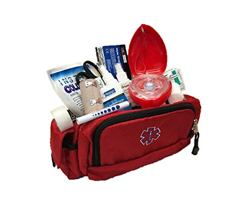 LINE2design Deluxe First Aid, First Responder Fanny Pack Large EMS, EMT, Paramedic Fanny Pack, Multiple Heavy-Duty Zippers Internal Pockets Emergency Equipment Portable Bag - Red