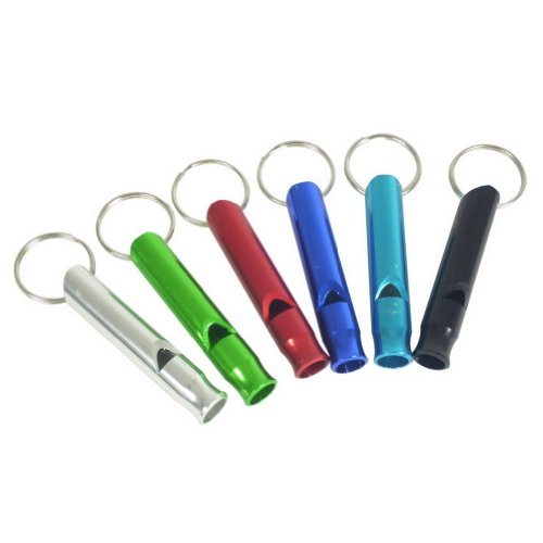 Water & Wood 6PC Emergency Hiking Camping Survival Aluminum Whistle Key Chain (Colors Sent randomly) by Waterwood