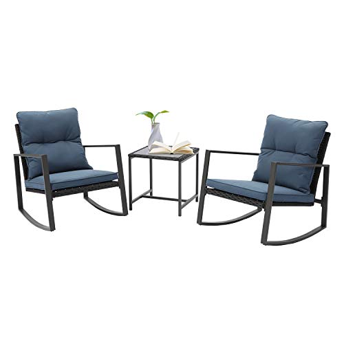 SUNBURY Outdoor 3-Piece Rocking Chair Set, Bistro Furniture Wicker Patio Chairs w Blue Cushion, Tempered Glass Table for Backyard Porch