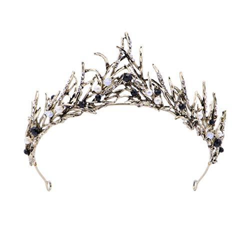 FRCOLOR Corona de Perlas Negras Corona de Diamantes de Imitación Barroca Tiara de Boda...