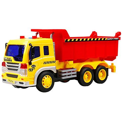 MEGAUK Kinder Muldenkipper Truck LKW Kipper Kipp-LKW Lastwagen Fahrzeug Sandkipper Sandfahrzeug Sandkasten mit Kippmulde Kinderspielzeug Kinderfahrzeug ab 3 Jahre (Gelb+Rot)