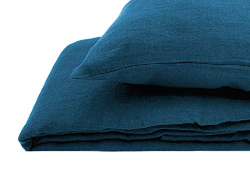 JOWOLLINA Lino - Juego de cama (2 piezas, 80 x 80 cm, 180 g/m2), color azul petróleo