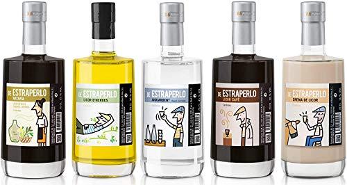 Assorted box 5 Bottles of Estraperlo Liquors (Ratafia, Herbal Liquor, Coffee Liquor, Oriujo and Liquor Cream) 5 X 70 cl