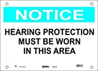 """Master Lock S21702 20"""" Width x 14"""" Height Polypropylene, Blue and Black on White Safety Sign, Header """"Notice"""", Legend """"Hearing Protection Must Be Worn In This Area"""""""