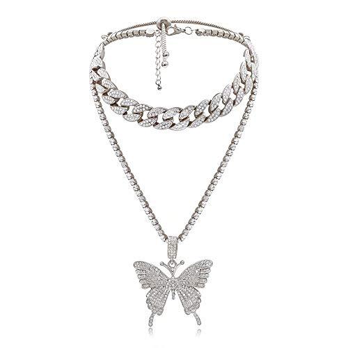 AUkaiqu12 Hip Hop Full Diamond kubanische Halskette Diamond Butterfly Halskette Iced Out Zirkonia Schmetterling Pendent Hip Hop Choker Halskette