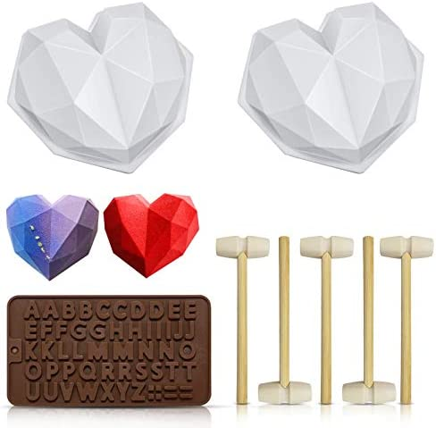 Chocolate Heart Mold Silicone Molds for Baking Diamond Heart Shaped Cake Mold Trays with 5 Pieces product image