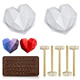 Chocolate Heart Mold, Silicone Molds for Baking Diamond Heart Shaped Cake Mold Trays with 5 Pieces...