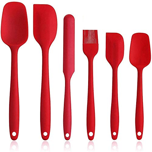 Spatulas Set of 6, Food Grade Silicone Spatulas, Rubber Spatulas Heat Resistant, Seamless One Piece Design, Stainless Steel Core, Kitchen Utensils Nonstick for for Cooking, Baking and Mixing
